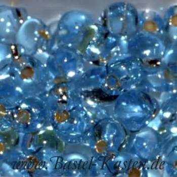 DP-0018  Miyuki Tropfen Perlen 3,4mm  transparent silverlined blue topaz (ca. 10 Gramm)