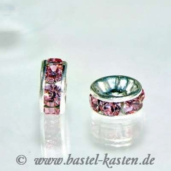 Swarovski Rondell 6 mm versilbert / light rose (5 Stück)
