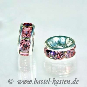 Swarovski Rondell 7 mm versilbert / light rose  (5 Stück)