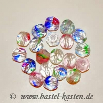 Feuerpolierte Perle 6mm crystal with color stripes (20 Stück)