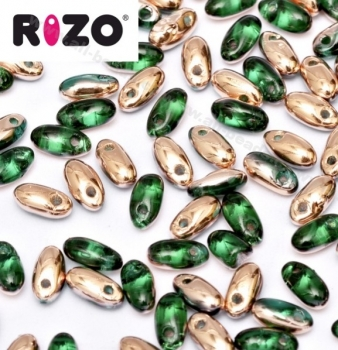 Rizo Beads 2,5 x 6 mm emerald capri gold (10 Gramm)