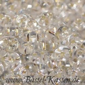 Twin Beads 4 mm x 2,5 mm crystal silbereinzug (10 Gramm)